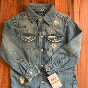 NWT Lucky Brand distressed toddlers jean shirt